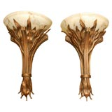PAIR OF DRAMATIC LARGE FLAME SCONCES