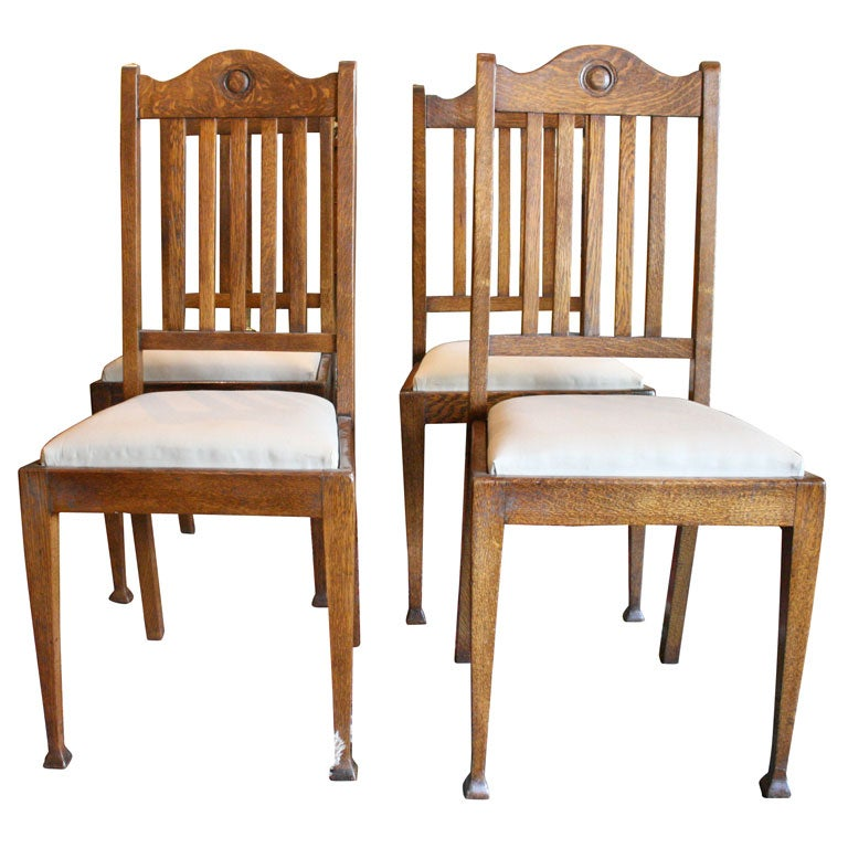 Set of four arts and crafts chairs at 1stdibs - Tucker dining room set ...