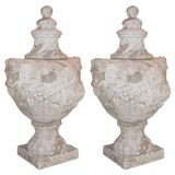 Pair of Salt Glaze Terracotta Lidded Urns