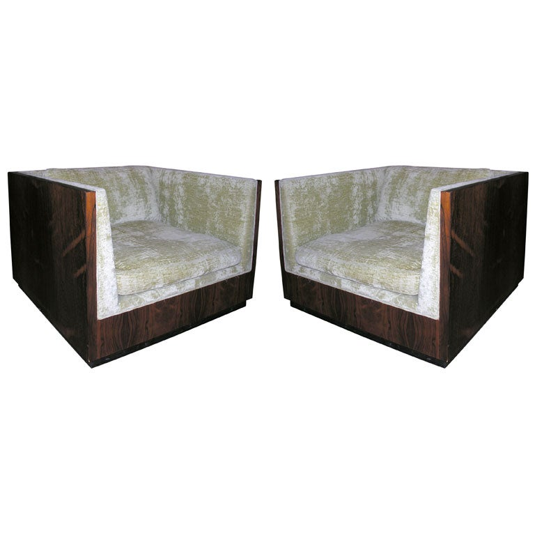 Pair of Rosewood Cube Club Chairs by Milo Baughman
