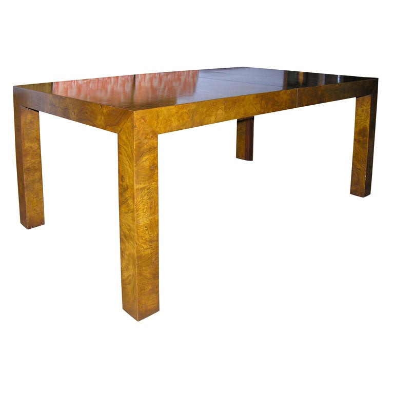 Olive Ash Burl Parsons Dining Table By Milo Baughman For
