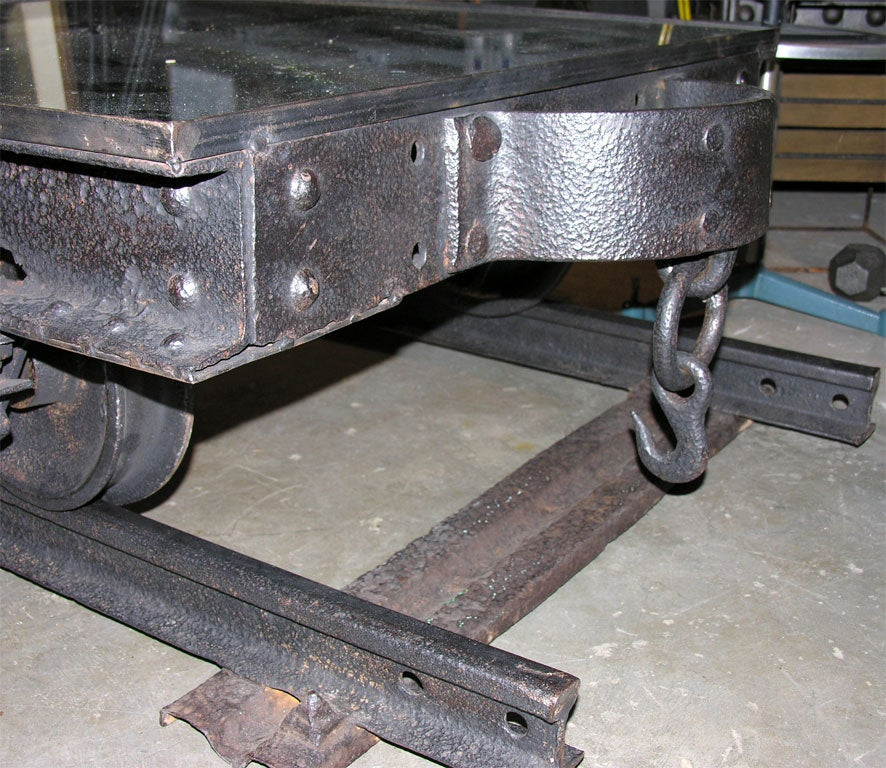 Coffee Table Train Set Sale: French Railroad/Mine Shaft Industrial Cart Coffee Table At