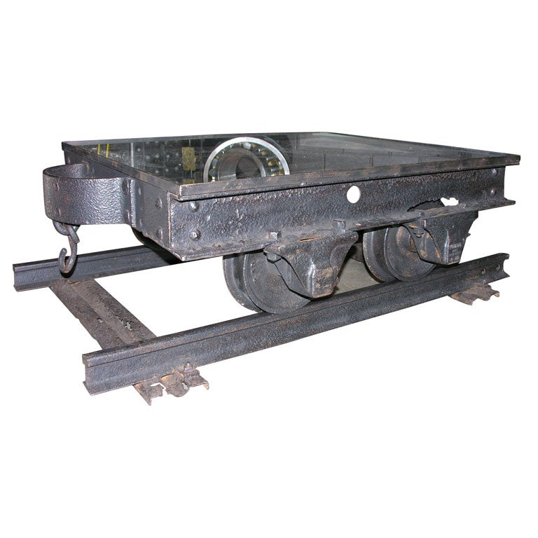railroad mine shaft industrial cart coffee table at