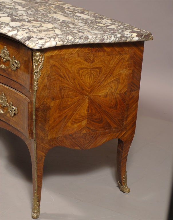 French Louis XV Style Commode in Kingwood & Tulipwood, c. 1850 For Sale