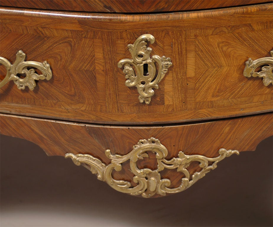 19th Century Louis XV Style Commode in Kingwood & Tulipwood, c. 1850 For Sale