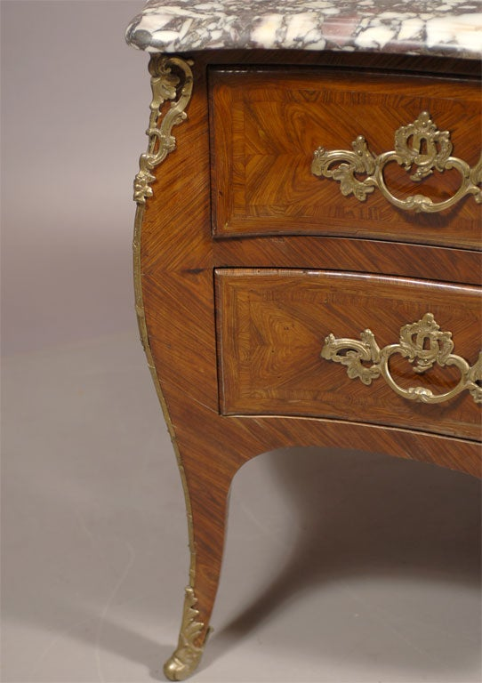 Bronze Louis XV Style Commode in Kingwood & Tulipwood, c. 1850 For Sale