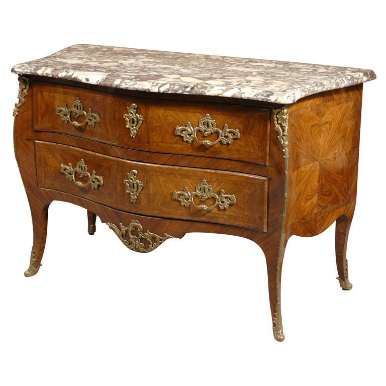 Louis XV Style Commode in Kingwood & Tulipwood, c. 1850 For Sale