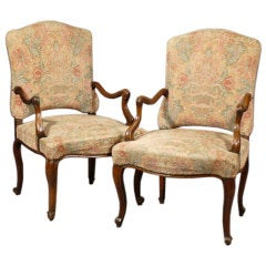 Pair Regence Period Fauteuils in Walnut, c. 1730