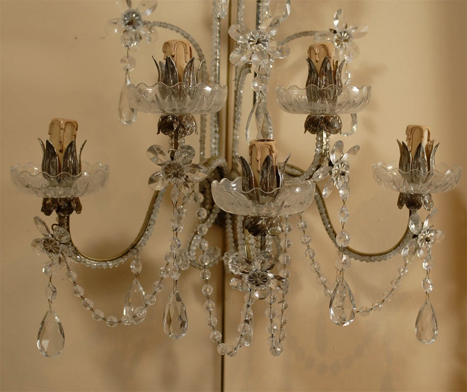Large Crystal Wall Sconces : Pair of Large Venetian 5-Light Crystal and Silvered Sconces at 1stdibs