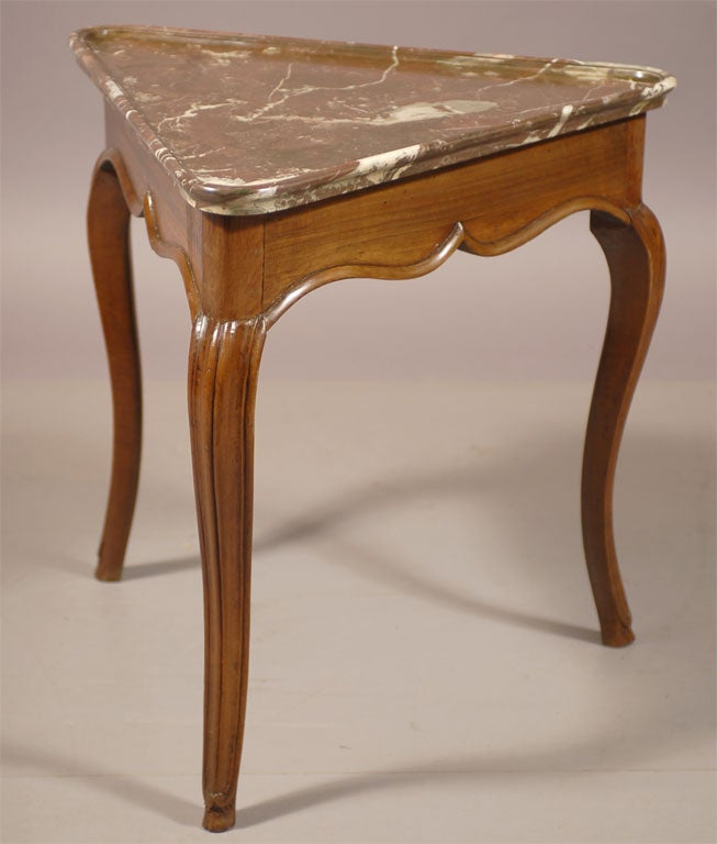 Rare Louis XV Walnut Triangular Table with Marble Top, c. 1750 2