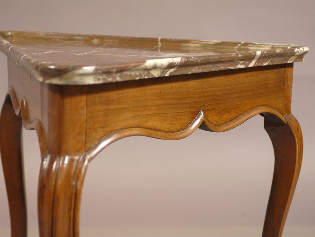 Rare Louis XV Walnut Triangular Table with Marble Top, c. 1750 5