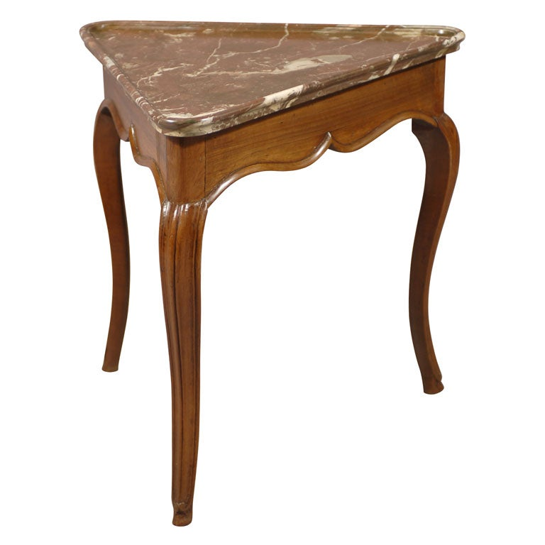Rare Louis XV Walnut Triangular Table with Marble Top, c. 1750 1