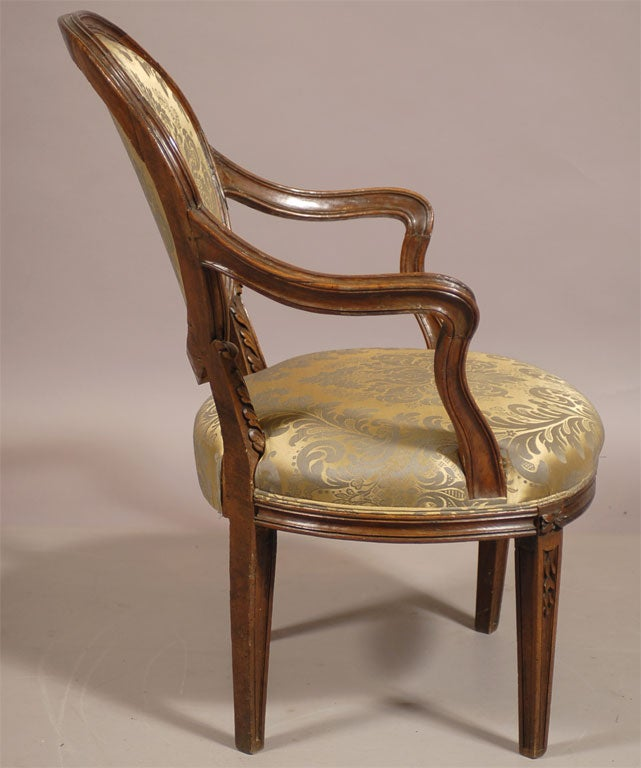 Italian Fauteuil In Walnut With Script Mark Italian C
