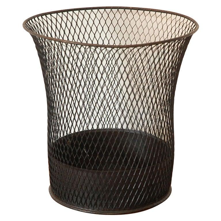 1925 Black Waste Basket At 1stdibs
