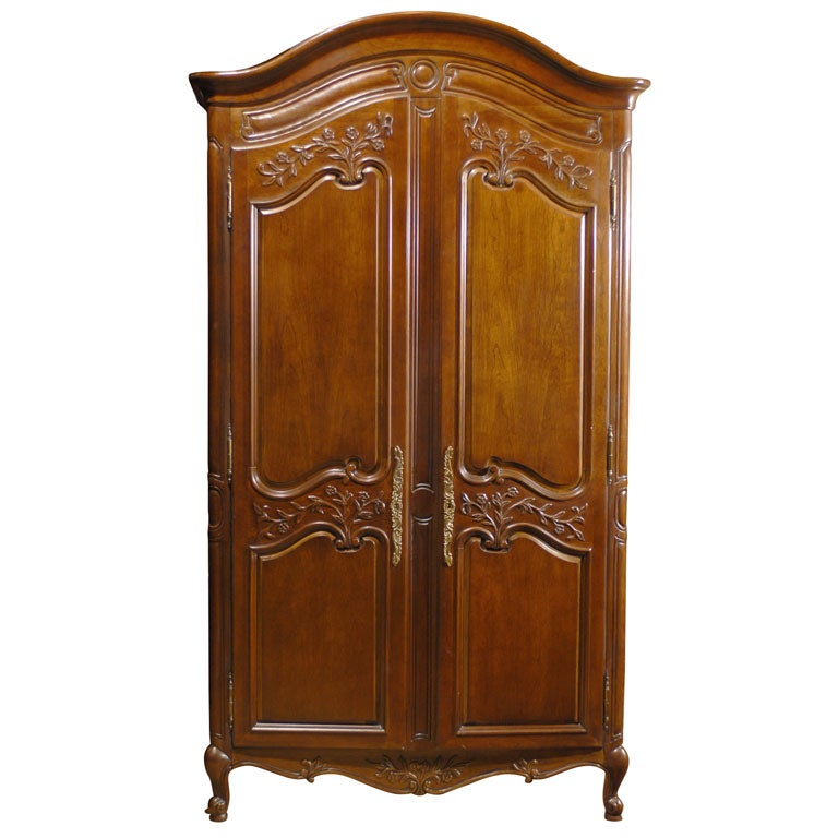 vintage french country armoire with hand painted floral. Black Bedroom Furniture Sets. Home Design Ideas
