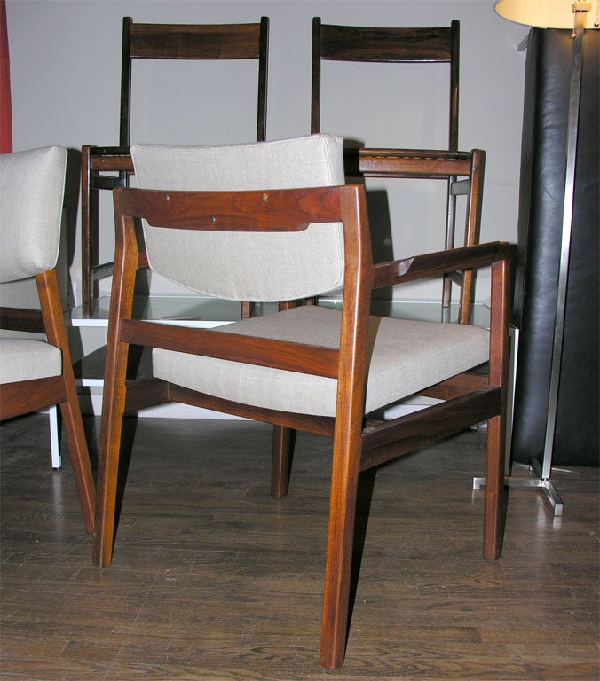 Six jens risom solid walnut dining chairs with linen cushions at 1stdibs - Jens risom dining chairs ...