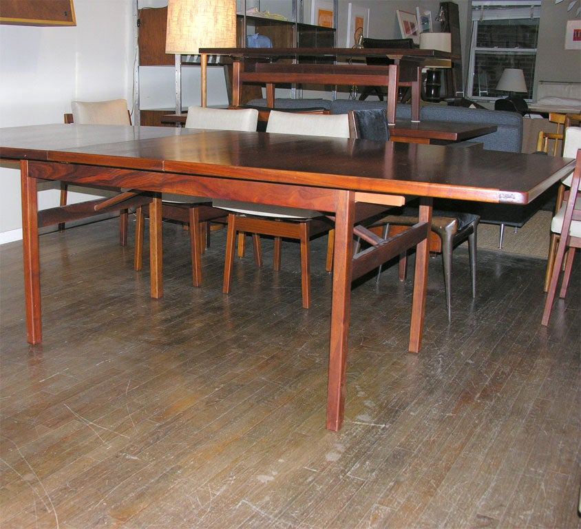 jens risom walnut boat shaped dining table with 6 chairs at 1stdibs