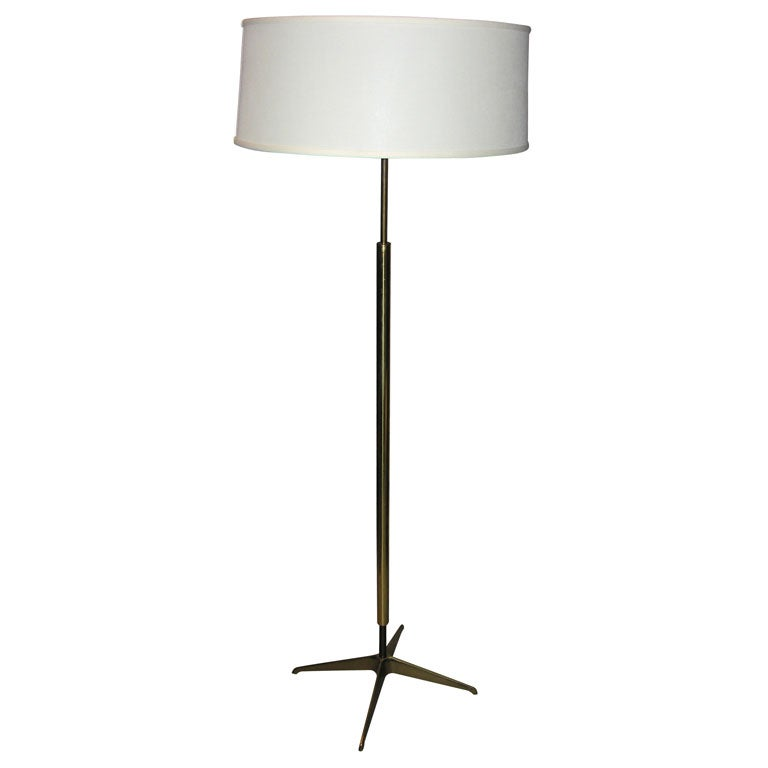 Brass 195039s floor lamp with 4 pronged base and linen for 1950 s brass floor lamp