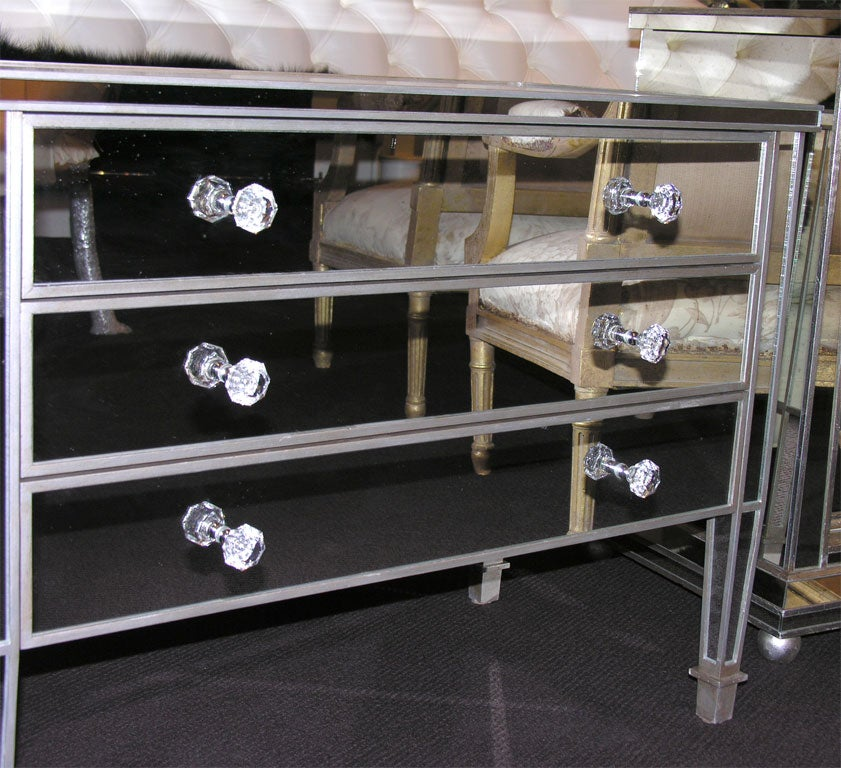 Pair of Custom Mirrored Silver Trim Commodes For Sale 2