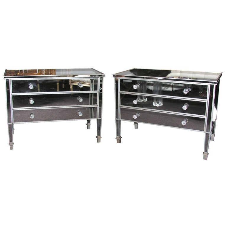 Pair of Custom Mirrored Silver Trim Commodes For Sale