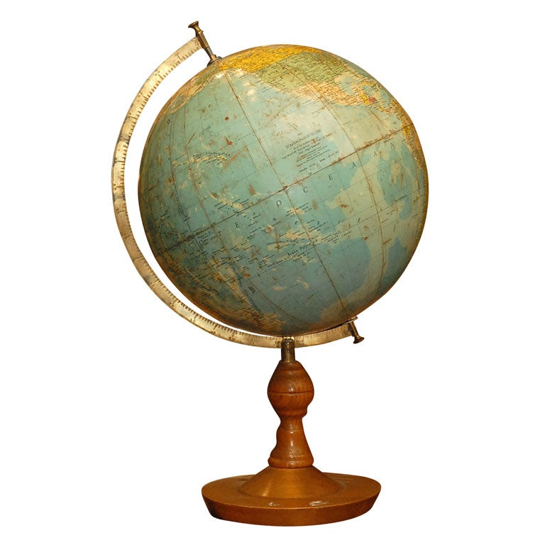 Globe With Wooden Base At 1stdibs