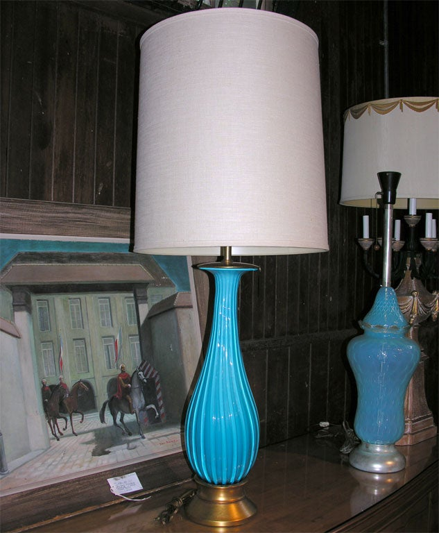 Very large hand blown turquoise Murano glass lamp with original lampshade.