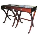 Pair of Laquered Mahogany Side Tables
