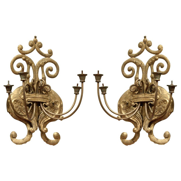 Pair of Large Gilt Iron Wall Sconces at 1stdibs