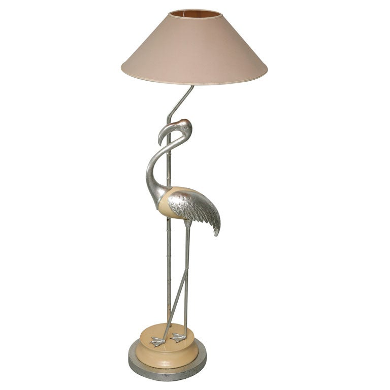 Silver Gilt Flamingo Standing Lamp At 1stdibs