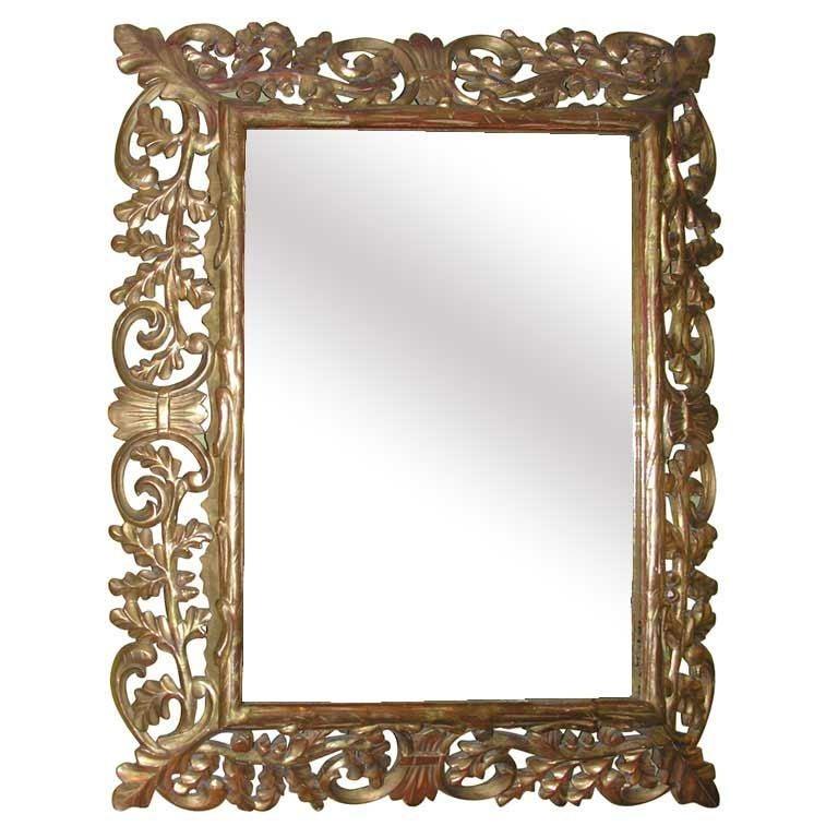Dramatic oak tree baroque style gilt wood mirror for for Baroque style wall mirror