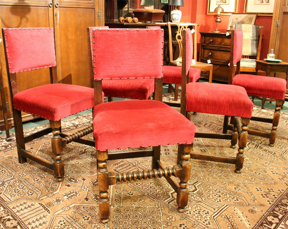 Set Of Six Upholstered Oak Dining Chairs At 1stdibs