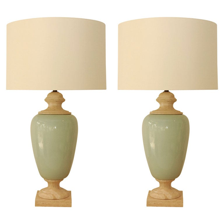 this pair of monumental table lamps with custom silk shades is no. Black Bedroom Furniture Sets. Home Design Ideas