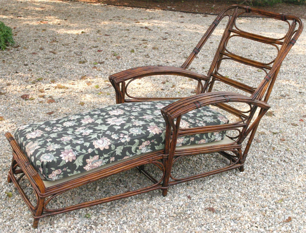 Stick wicker chaise lounge at 1stdibs for Antique wicker chaise lounge