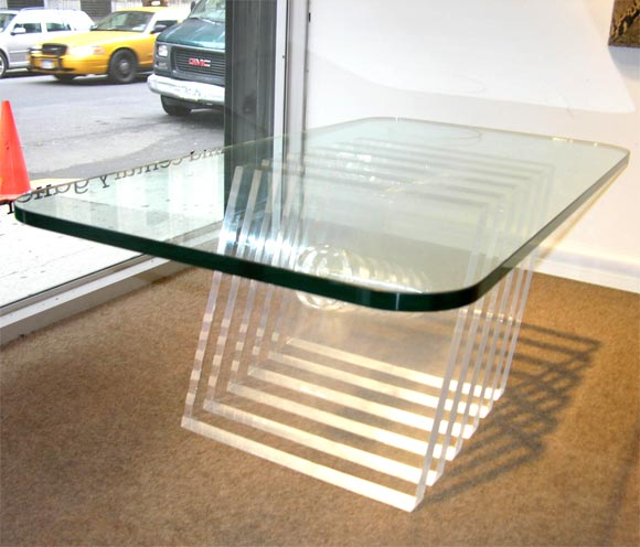 Coffee Table With Sculptural Thick Acrylic Base And Glass