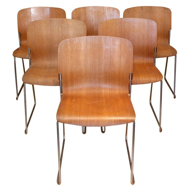 Elegant Set 8 Mid Century Modern Stacking Chairs By David Rowland 1
