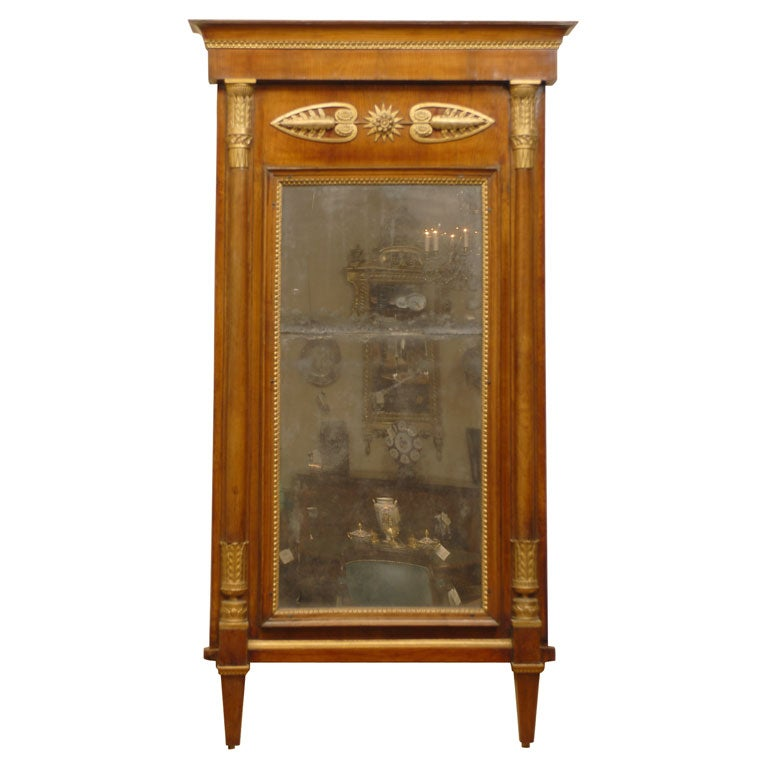 Empire Period Parcel-Gilt and Cherry Mirror, circa 1810 For Sale