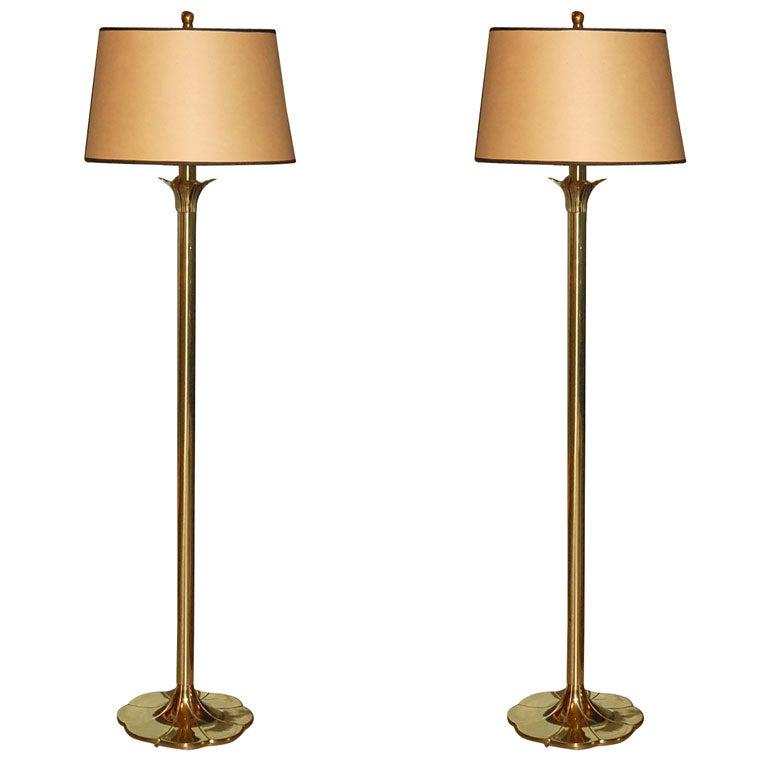 Vtg Brass Floor Lamp: Pair Of Brass Floor Lamps By STIFFEL At 1stdibs