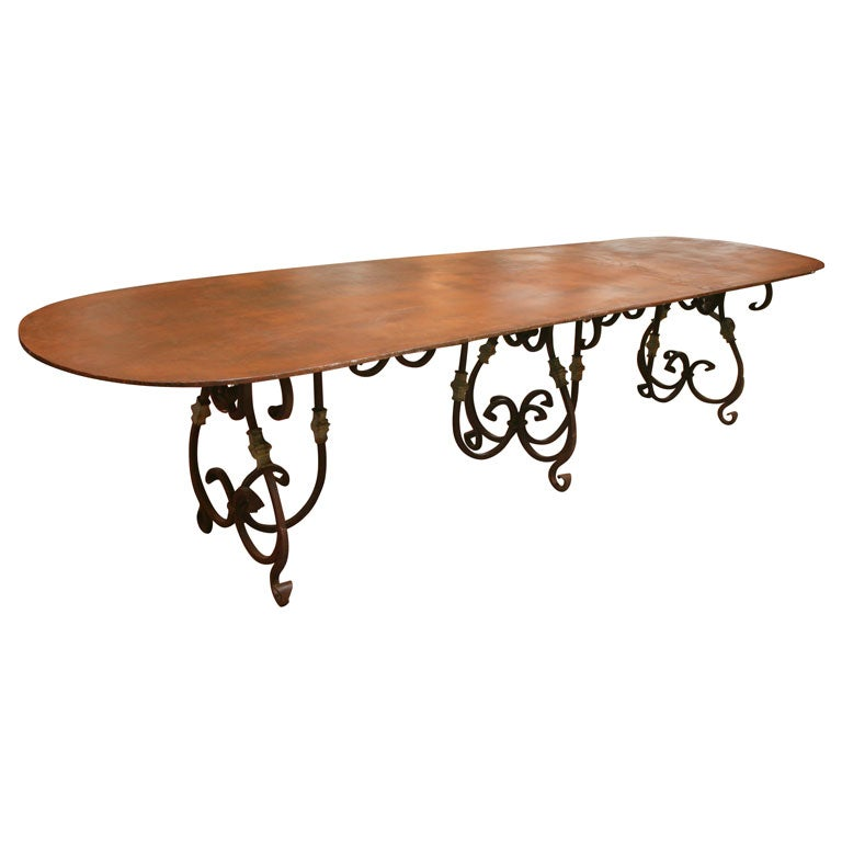 Indoor Outdoor Oval Metal Dining Or Garden Table At 1stdibs
