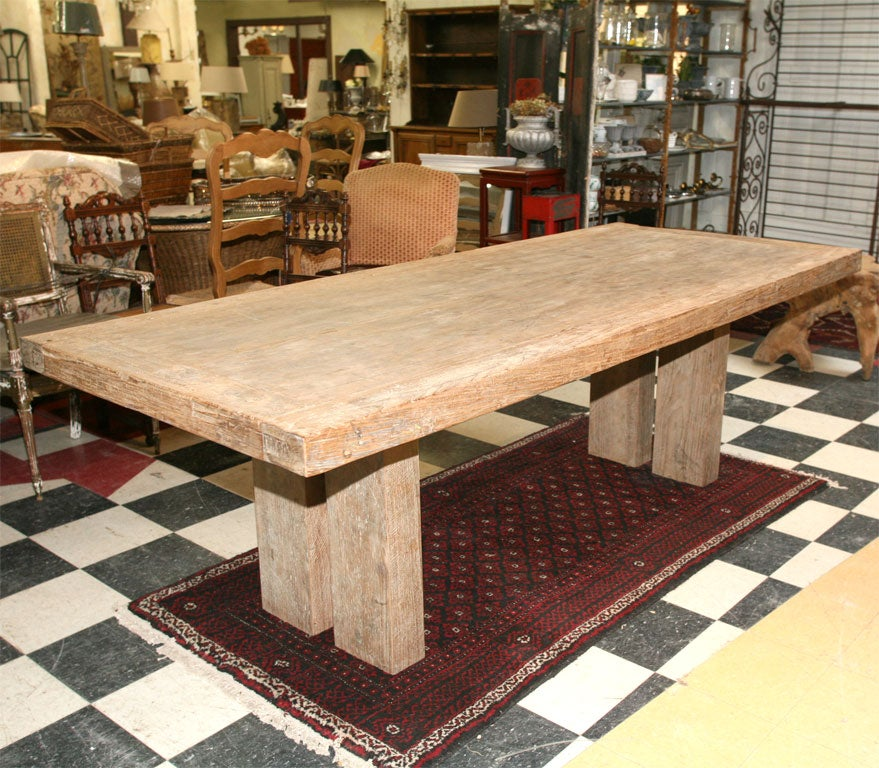 Bleached Teak Wood Dining Table At 1stdibs