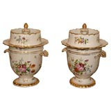"Pair of ""Old Paris"" Porcelain Hand-Painted Fruit Coolers"