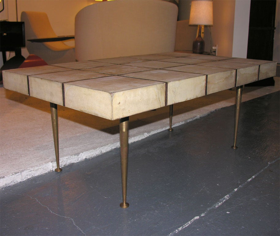 Terrific South American Leather Top Coffee Table At 1stdibs