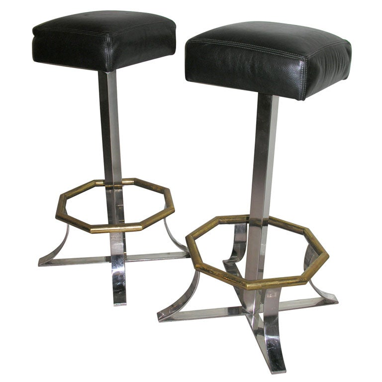 Pair of Chic Swivel Bar Stools by Maison Jansen