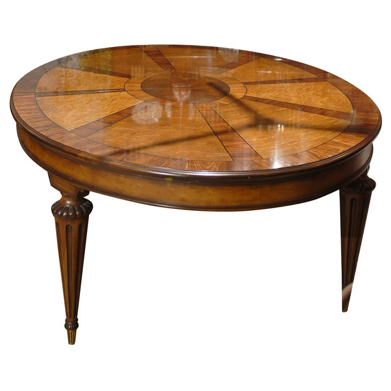 E J Victor elm and rosewood extending dining table at 1stdibs
