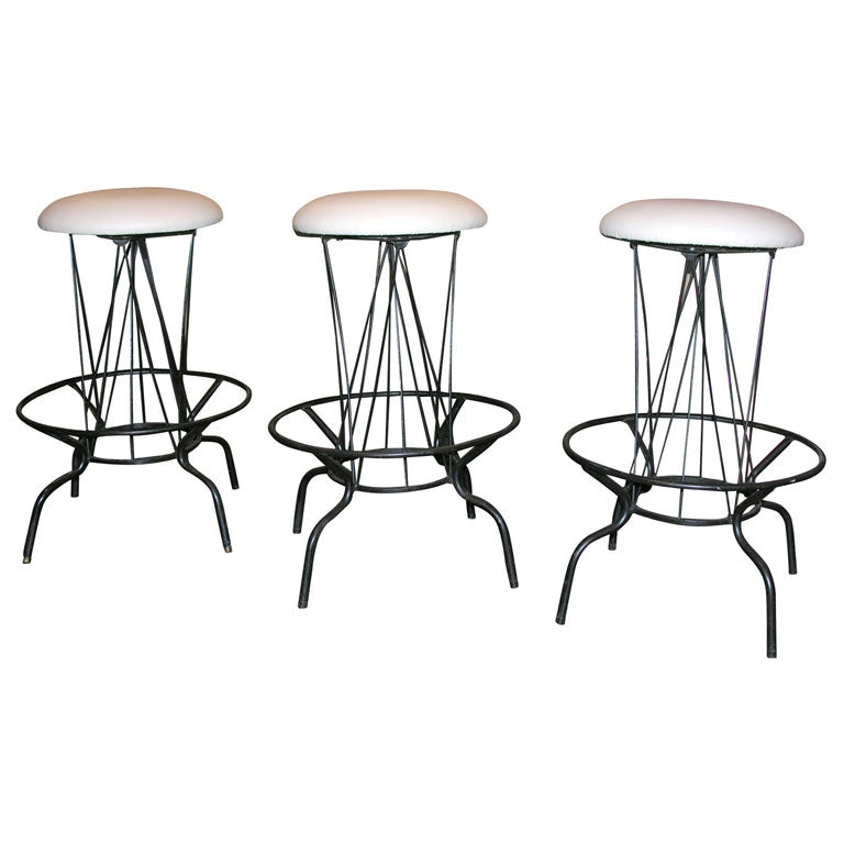 Set Of 3 Sculptural Bar Stools With Revolving Seats At 1stdibs