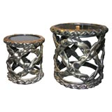 Pair of Occasional Tables in Gold and Black Resin