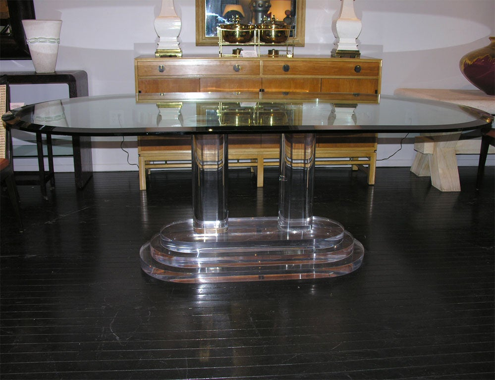 Dining Table With Thick Lucite Base And Glass Top At 1stdibs