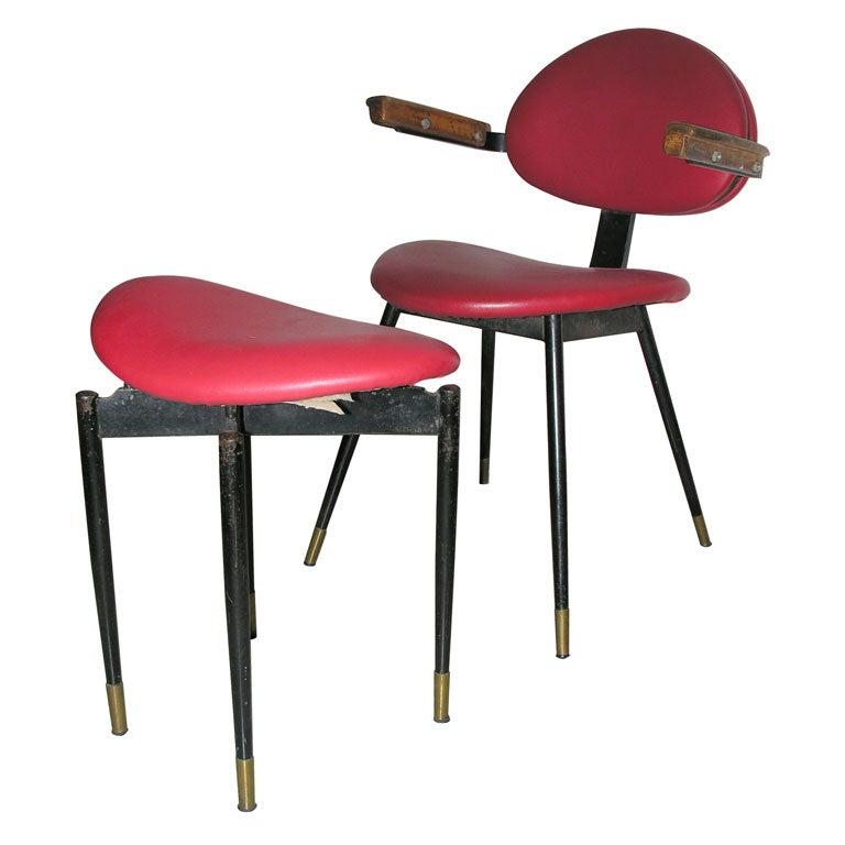 Carlo Mollino Chair And Matching Stool At 1stdibs