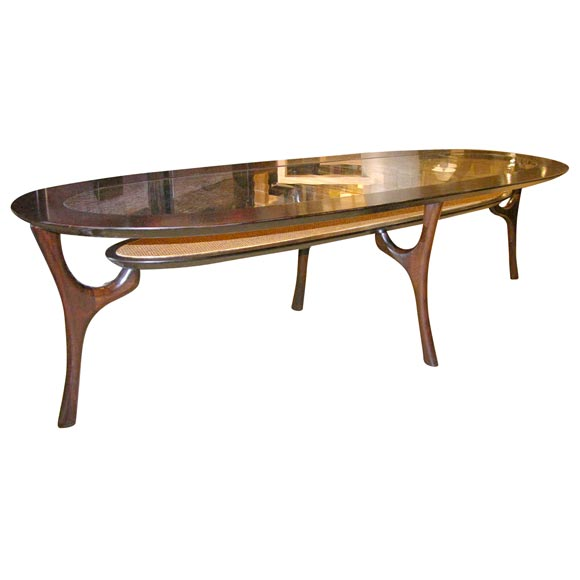 Long Oval Glass Raffia And Wood Table At 1stdibs