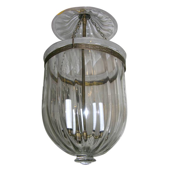 Antique Ribbed Clear Bell Jar Lantern With Glass Knob At
