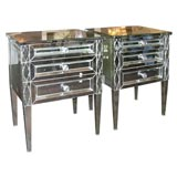 Pair of Diamond Front Mirrored Commodes